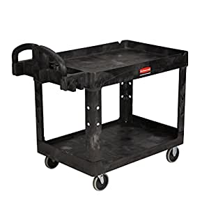 Rubbermaid Commercial Heavy-Duty Utility Cart, Lipped Shelves, Medium, Black (452088BK)
