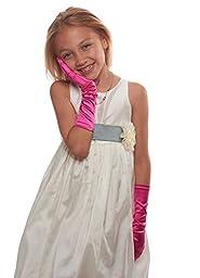 Showstopper Shiny Satin Elbow Length Gloves for Girls (Fuchsia, 7-14)