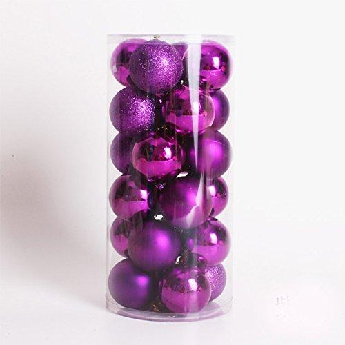 R-STYLE 豪華に装飾 クリスマス ツリー 飾り ボール オーナメント 6cm球24個 選べるカラーセット (パープル)