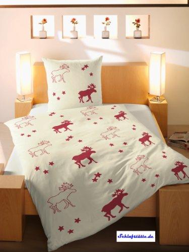 bettw sche de fein biber bettw sche 2tlg 135x200 in natur rot. Black Bedroom Furniture Sets. Home Design Ideas