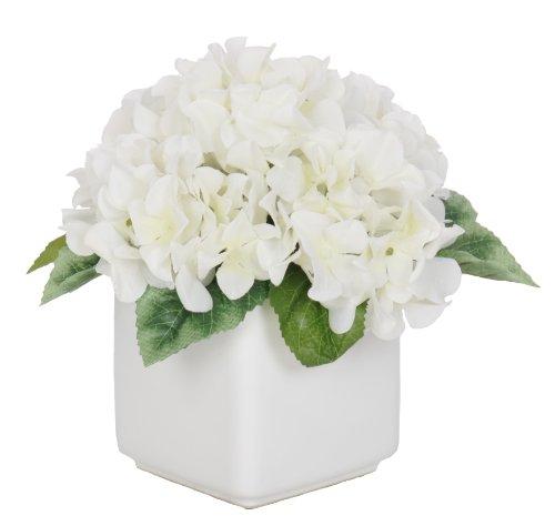 Artificial White Hydrangea in White Ceramic Cube