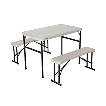 Lifetime 80373 Portable Folding Picnic Table and Bench Set, Almond