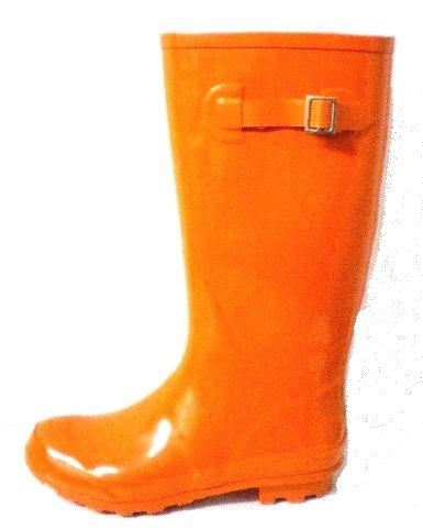 KCMODE Ladies Bright Orange Winter Festival Wellington Boots