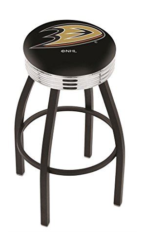 "25"""" L8B3C - NHL Black Wrinkle Anaheim Ducks Logo Swivel Bar Stool with Chrome 2.5"""" Ribbed Accent Ring-By BlueTECH"