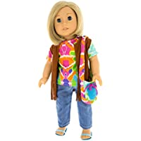 Doll Clothes For 18 Girl Dolls 5 Pc Tie Dye Outfit - Dress Along Dolly Includes Tie Dye Shirt Jeans Sandals Vest...