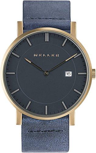 Meller Unisex Balk Marine minimalistische Uhr mit grau Analog-Anzeige und Lederband