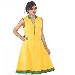 Parinita Women Yellow Cotton Solid Dobby Long Kurti_M