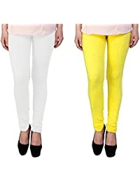 Snoogg Womens Ethnic Chic Inspired Churidar Leggings In Yellow And White
