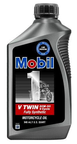 Mobil 1 V-Twin Motorcycle 20W50 Motor Oil - 1 Quart, (Pack of 6)
