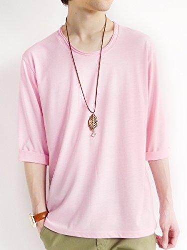 (モノマート) MONO-MART ツインロール 7分袖 カットソー 杢 ストレッチ ちょいゆる Uネック Tシャツ カジュアル モード カラー メンズ モクピンク Mサイズ