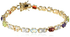 "18k Yellow Gold Plated Sterling Silver Multi-Gemstone and Diamond Bracelet, 7"" by Amazon Curated Collection"