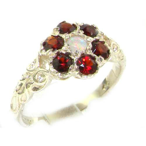 Victorian Ladies Solid Sterling Silver Natural Fiery Opal & Garnet Daisy Ring - Size 12 - Finger Sizes 5 to 12 Available - Suitable as an Anniversary ring, Engagement ring, Eternity ring, or Promise ring