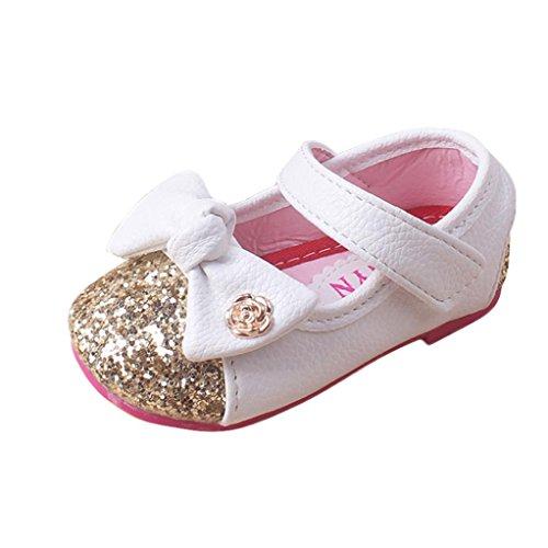 Kingko® Scarpe femminili per bambini principessa bambino calza tendine morbido pattini inferiori Bambini Primavera Estate Autunno Autunno scarpe invernali (32~36 mesi, bianco)
