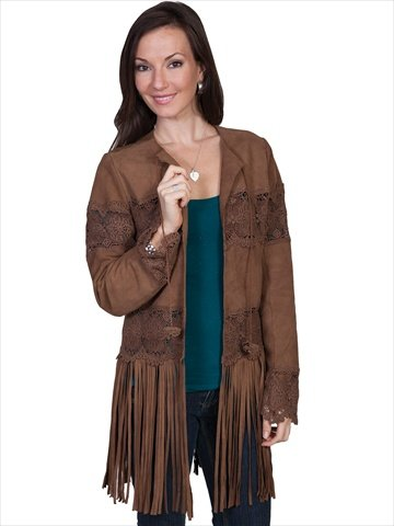 Scully Women's Long Fringe Suede Coat Brown Medium