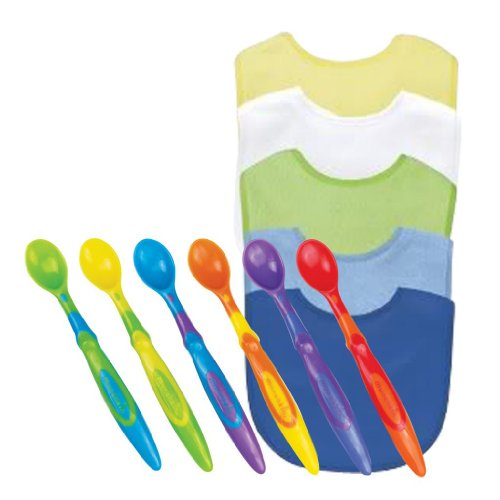 Green Sprouts Basic Waterproof Absorbent Terry Bib 5 Pack With Munchkin Silicone Spoons, Boy front-949254