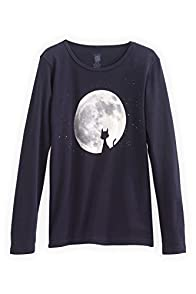 Green 3 Apparel Cat in Moon Made in USA Tee