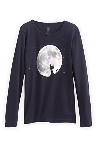 Green 3 Apparel Cat In Moon Made In Usa Tee (L, Black) front-596199