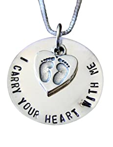 I Carry Your Heart with Me Hand Stamped Memorial Sterling Silver Charm Necklace