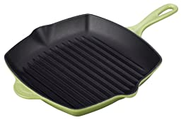 Le Creuset Enameled Cast-Iron 10-1/4-Inch Square Skillet Grill, Palm