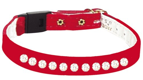 Pet Supply Imports - Red Velveteen Jeweled Break Away Cat Collars Siz 14
