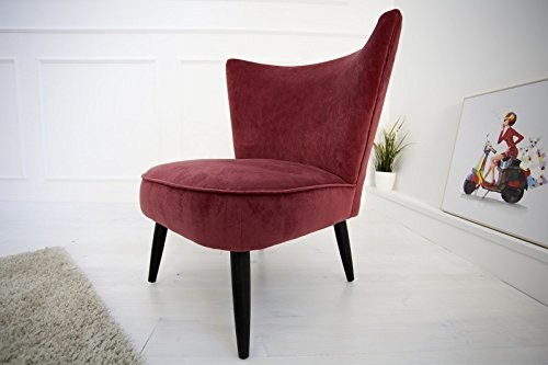 Casa Padrino Cocktail lounge chair Bordeaux Red / Black - Club armchair 60s Sixties