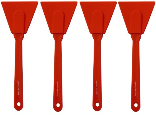 Kitchen Meister Silicone Scraper, 9 ½ X 3 ½ Inch with Sturdy Plastic Handle. Set of 4, Red