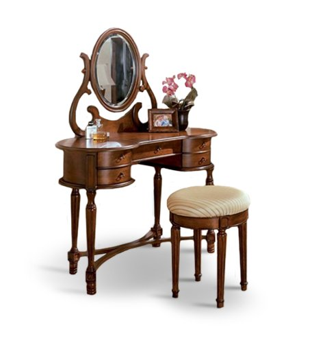 Black friday dirty oak walnut finish wood vanity with for Cheap vanity table set