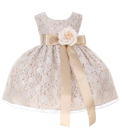 Cinderella Couture Baby Girls' Champagne Lace Dress Champ Sash & Flw 18M L 1132B