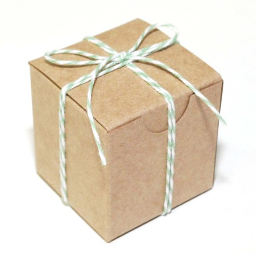Dress My Cupcake Kraft 100-Pack Favor Boxes and Twine DIY Kit, 3-Inch, Mint Green