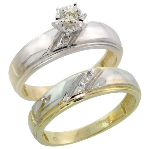 10k Gold 2-Piece Diamond Engagement Ring Set, w/ 0.09 Carat Brilliant Cut Diamonds, 7/32 in. (5.5mm) wide, Size 7.5