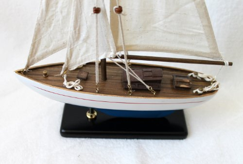 """Sailing Yacht Model Ship Sailer - Height 14.57"""" - Length 9.84"""" - Varnished Wood and Canvas Sails - A - White - Light Blue, Linen"""