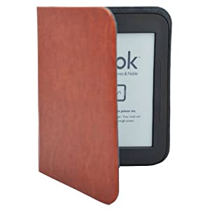 Brown Ultra Slim Thin Leather Cover Sleeve Case for NOOK Simple Touch, NOOK Simple Touch with GlowLight and Nook Glowlight Nook 5