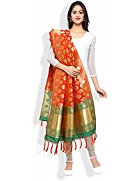Banarasi Dupatta By KMOZI (Orange & Green)