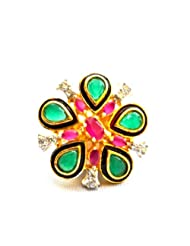 Orne Jewels Kundan Multigem Cocktail Ring For Women
