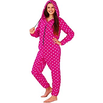 "Boutique Polar Fleece Soft Spotted Womens Hooded Onesie All In One (Medium - 38-40"", Pink Spot)"