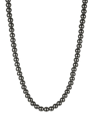 Men's Hematite 6mm Round Bead with Large Sterling Silver Lobster Claw Clasp Necklace, 22