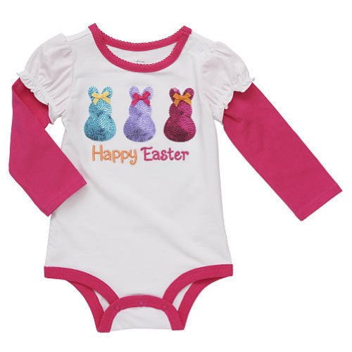 Embroidered Girls Baby Happy Easter Sequined Bunny Bodysuit Dress Up Outfit