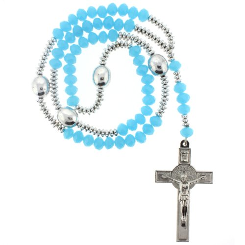 Light Blue Rhinestone Crystal Rosary With Faceted Rondell Beads in 10x8mm, 3