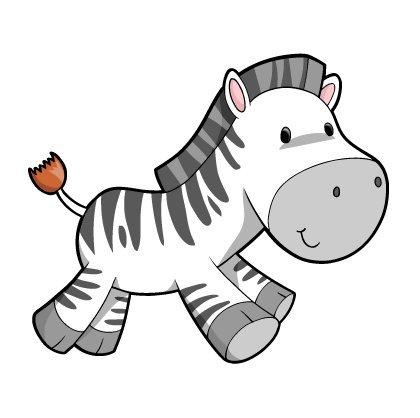 Children's Wall Decals - Cartoon Cute Baby Zebra - 36 inch Removable Graphic