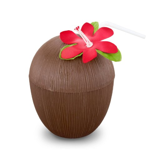 Plastic Coconut Cup (flower & straw included) Party Accessory  (1 count) (1/Pkg)
