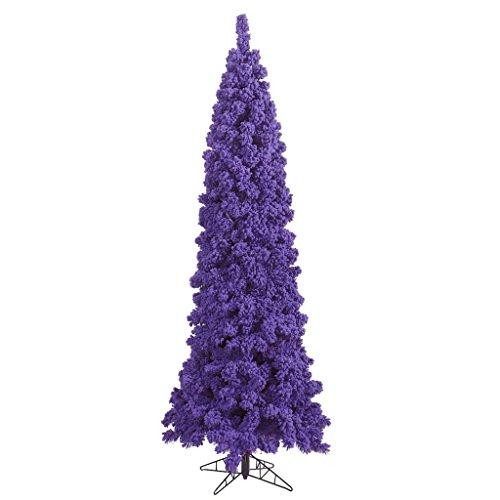 Vickerman 439173 - 5.5' Flocked Purple Pencil Tree Christmas Tree