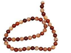 8mm Round Multi-Tone Peach Marble Stone Bead Strand (50 Piece)