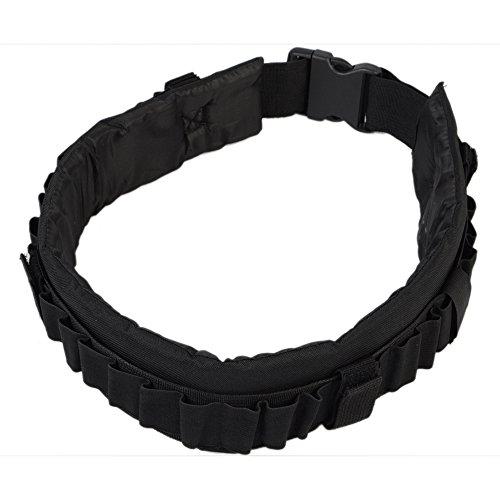 [Airsson Tactical Shotgun Shell Belt Carrier Holder Bandolier 31 Rounds 12GA 20GA Molle Waist Padded Duty Belt Pad Buckle Nylon Adjustable] (Bandolier Belt)