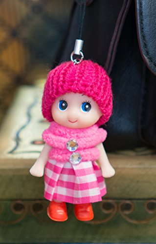 cherry-pink-doll-cute-boots-skirt-wool-pompom-toy-charm-keyring-keychain-key-chain-soft-fluffy-cotto
