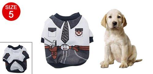 Weiß schwarz Haustier Hund Kleidung Mantel Hemden Polizei Stil Größe 5 de