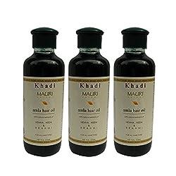 Khadi Pure Amla Hair Oil With Brahmi & Neem Pack Of 3 Herbal & Ayurvedic 210 Ml Each