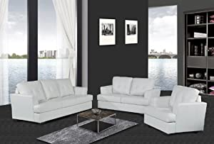 Beverly Furniture 3-Piece Patricia Bonded Leather Contemporary Sofa Set, White