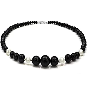 4-16mm Graduated Black Onyx and 8-9mm White Cultured Freshwater Pearl Necklace 18