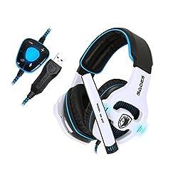 SADES SA903 7.1 Surround Pro USB PC Stereo Gaming Headset with High Sensitivity Mic Headband Headphone with Blue lighting(White)