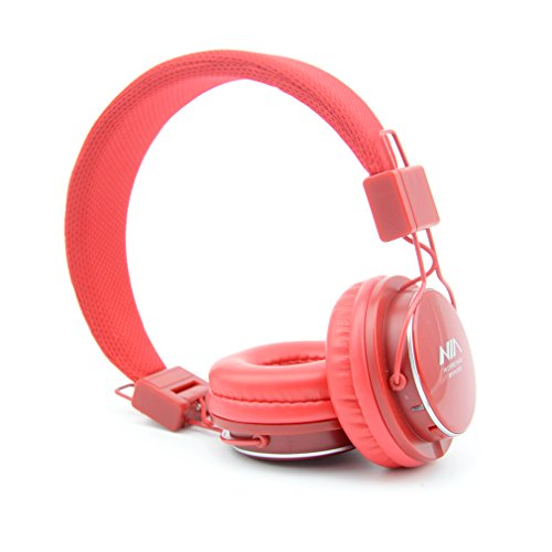Granvela A809 Foldable Headphone Headset New Fashion Brand Music Player Wireless Handsfree Headset Headphones Earphone,Support Tf Card Fm Radio Monitor Portable Audio Pc _Red